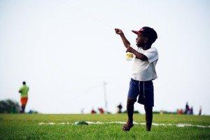 Kite Making little boy